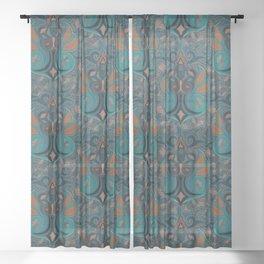 Medallion Paisley - deep colors Sheer Curtain