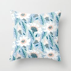 Hand drawn pattern with white flowers Throw Pillow