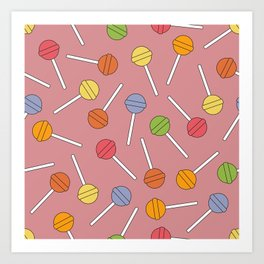 Happy Lollipops Sugar Candy Red Background Art Print
