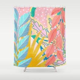Modern Jungle Plants - Bright Pastels Shower Curtain