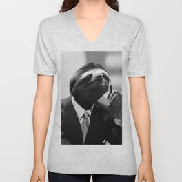 Gentleman Sloth smoking a cigarette Unisex V-Neck