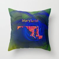 maryland Throw Pillows featuring Maryland Map by Roger Wedegis