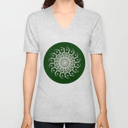 Mandala #104, Deep Green and White Unisex V-Neck