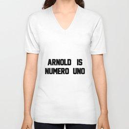 Arnold Is Numero Uno Mens RINGER Retro Birthday Gift birthday Unisex V-Neck