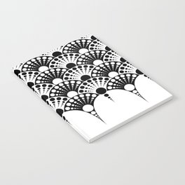 black and white art deco inspired fan pattern Notebook