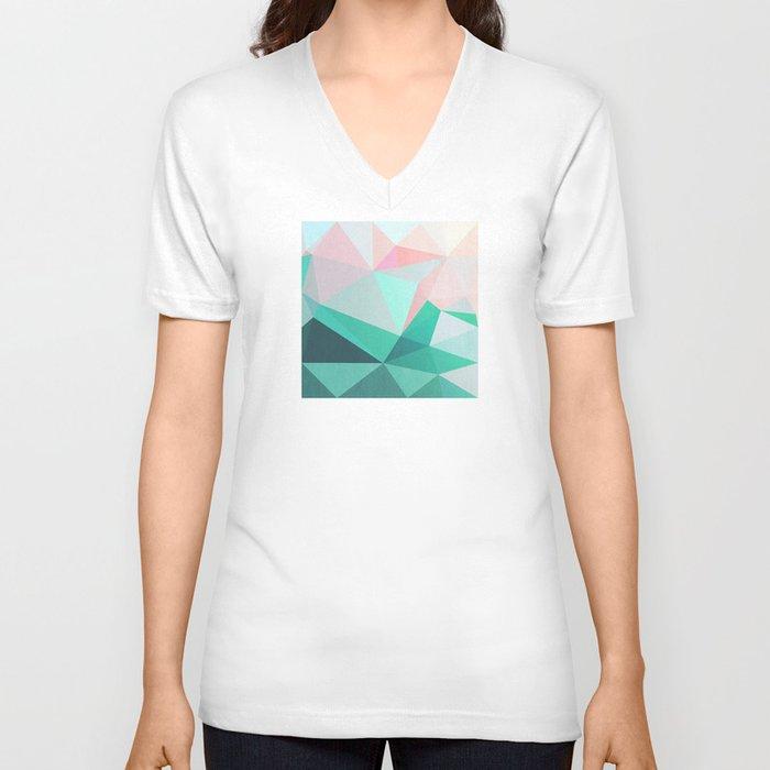 Geometric Landscape - Pink and Green Unisex V-Neck