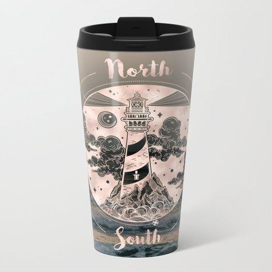 Lighthouse Compass Ocean Sunset Rose Gold Metal Travel Mug
