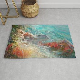 Mermaid sunbathing on the beach fantasy Rug