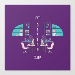 Eat Design Sleep  - Purple Canvas Print