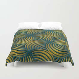 Teal Leather and Gold Circulate Wave Pattern Duvet Cover