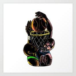 Basketball Player Dunking Blocking Ball Tattoo Art Print