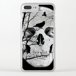 Gothic Skull Crow Rose A353 Clear iPhone Case