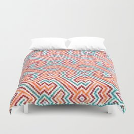 Song to Bring Vision & Insight - Traditional Shipibo Art - Indigenous Ayahuasca Patterns Duvet Cover