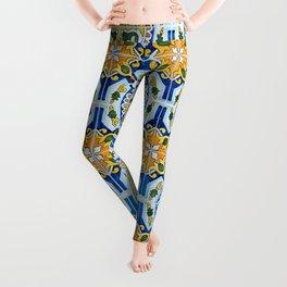 Seamless Floral Pattern Ornamental Tile Design : 2 - Blue, yellow Leggings