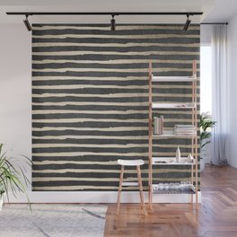 White Gold Sands Thin Stripes on Black Wall Mural