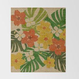 Limahuli Garden Hawaiian Floral Design Throw Blanket