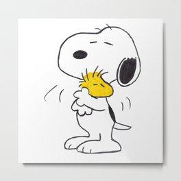 hug Peanuts Snoopy Metal Print
