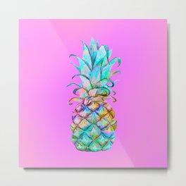 Pink Rainbow Color Splash Pineapple Metal Print