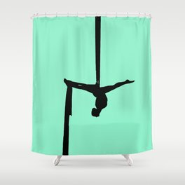 Aerial Silk Silhouette on Mint Shower Curtain