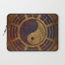 Purple Yin Yang Sign on Granite Laptop Sleeve