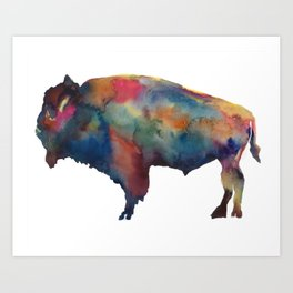 Watercolor Buffalo Bison Art Print