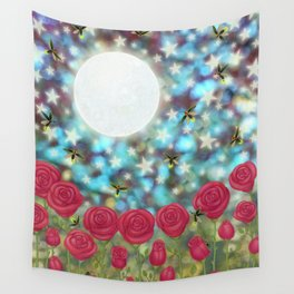 the moon, stars, fireflies, & roses Wall Tapestry