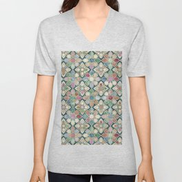 Muted Moroccan Mosaic Tiles Unisex V-Neck