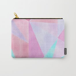 Geometrical Pink Lilac Teal Watercolor Hand Painted Pattern Carry-All Pouch