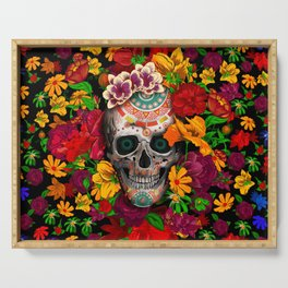 Day of the dead sugar skull flower Serving Tray