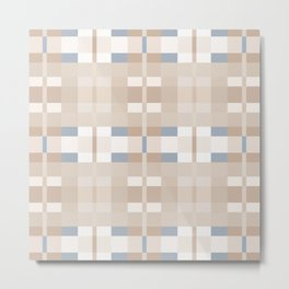 Beige and Blue Color Blocks Geometric Pattern Metal Print