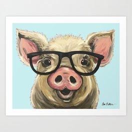 Cute Pig Painting, Farm Animal with Glasses Art Print
