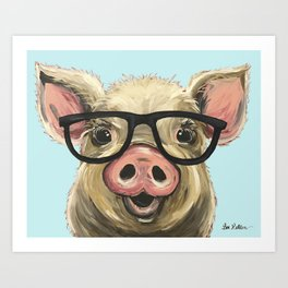 Cute Pig Painting, Farm Animal with Glasses Art Print