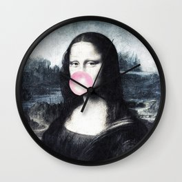 Mona Lisa blowing bubblegum bubbles Wall Clock