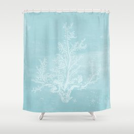 White Coral on Pale Blue Shower Curtain