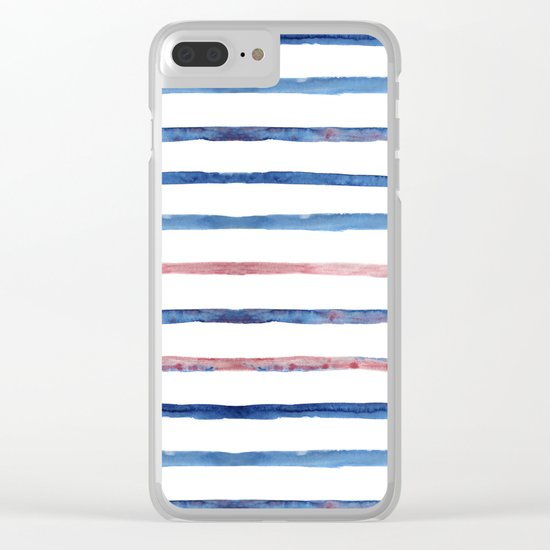 Watercolor pink and blue stripes Clear iPhone Case