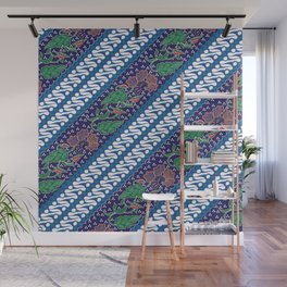 Indonesian combination batik with dominant blue color Wall Mural