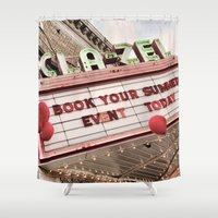 movies Shower Curtains featuring At the Movies by Right On Strange