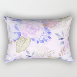 Watercolor flowers in Blue and Violet Rectangular Pillow