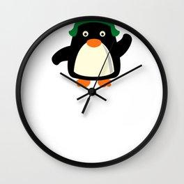 Christmas Penguin Winter Hat Wall Clock