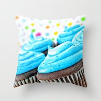 cupcakes Throw Pillows featuring Cupcakes by ThePhotoGuyDarren