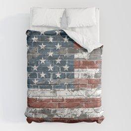 american flag on the brick Comforters
