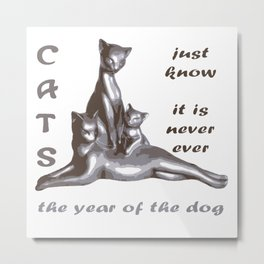 Cats Just Know It Is Never Ever The Year Of The Dog Metal Print