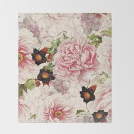Vintage & Shabby Chic Pink Floral Peonies Flowers Watercolor Pattern Throw Blanket