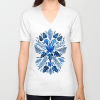 navy V-neck T-shirts featuring Tropical Symmetry – Navy by Cat Coquillette