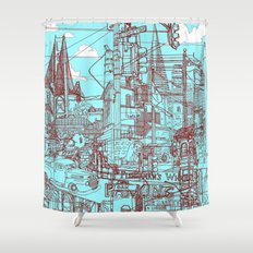 San Francisco! (Turquoise) Shower Curtain