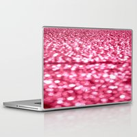 glitter Laptop & iPad Skins featuring Bubblegum Pink Glitter Sparkles by Whimsy Romance & Fun