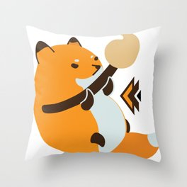 Smol Bean Fox Throw Pillow