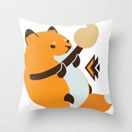 Smol Bean Fox Throw Pillow