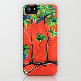 tree branch on orange sky painting iPhone Case