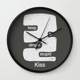Kiss - Keep it simple stupid - Black and White Wall Clock